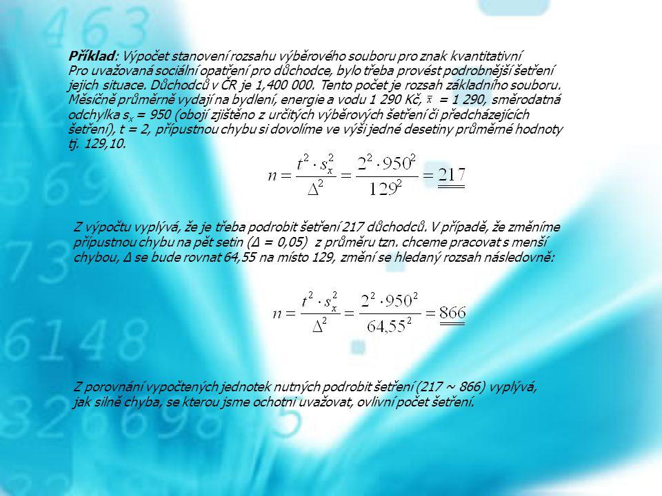 Příklad: Výpočet stanovení rozsahu výběrového souboru pro znak kvantitativní