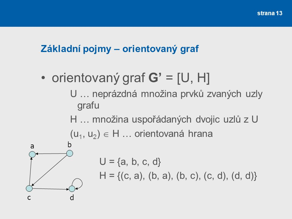 Základní pojmy – orientovaný graf
