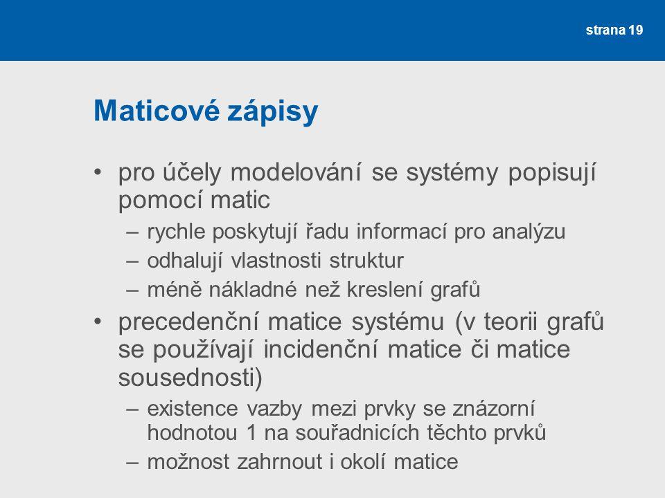 Maticové zápisy pro účely modelování se systémy popisují pomocí matic