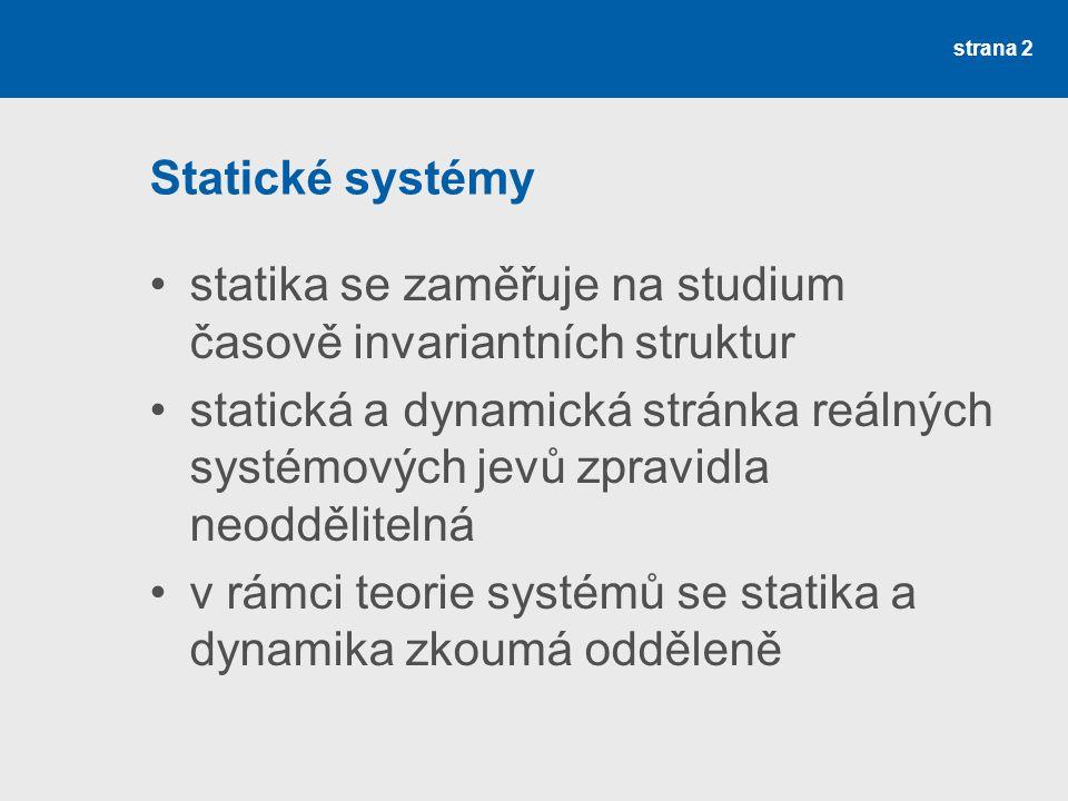 Statické systémy statika se zaměřuje na studium časově invariantních struktur.