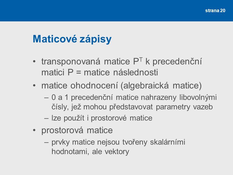 Maticové zápisy transponovaná matice PT k precedenční matici P = matice následnosti. matice ohodnocení (algebraická matice)