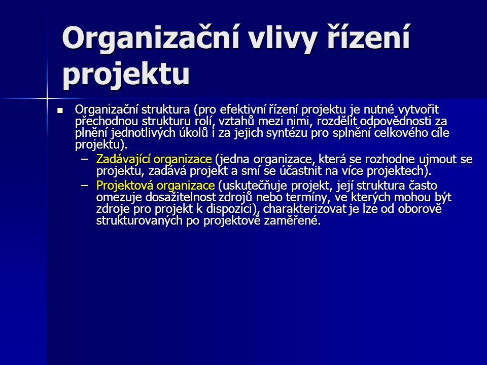 Organizační vlivy řízení projektu