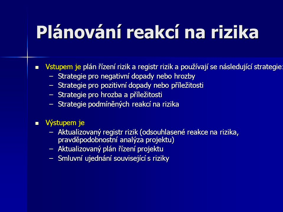 Plánování reakcí na rizika