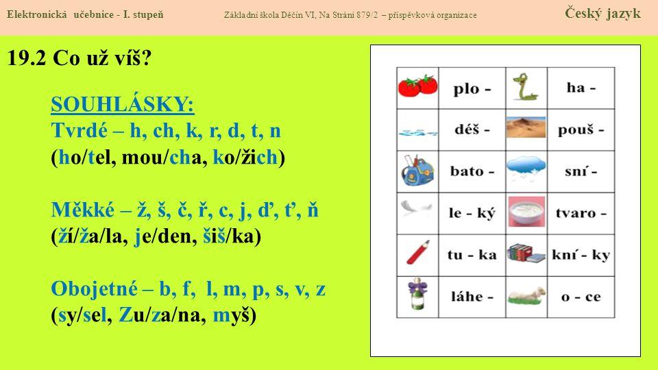 19.2 Co už víš SOUHLÁSKY: Tvrdé – h, ch, k, r, d, t, n