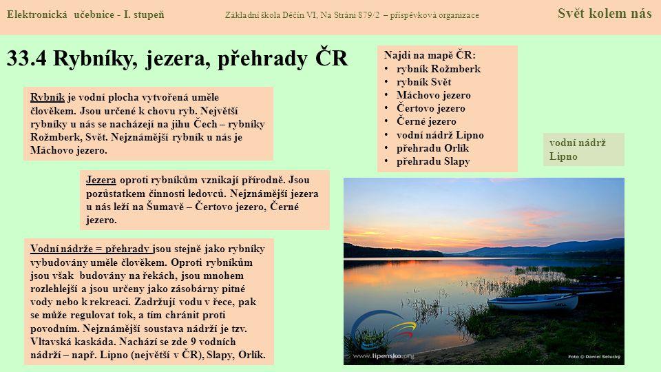 33.4 Rybníky, jezera, přehrady ČR