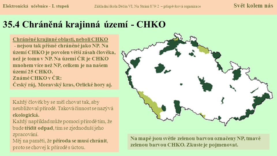 35.4 Chráněná krajinná území - CHKO