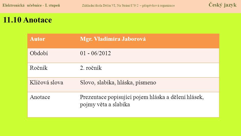 11.10 Anotace Autor Mgr. Vladimíra Jaborová Období 01 - 06/2012 Ročník