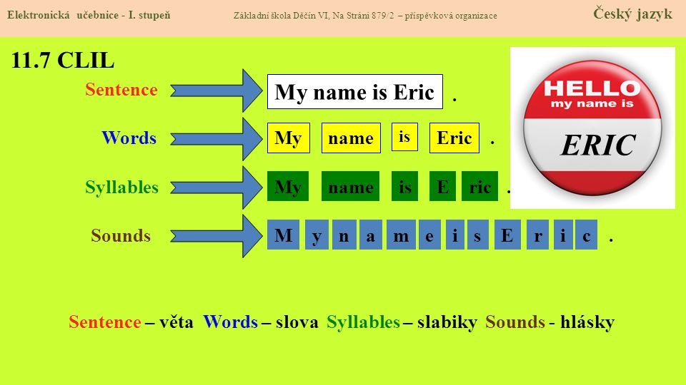 ERIC 11.7 CLIL My name is Eric Sentence . Words My name Eric .
