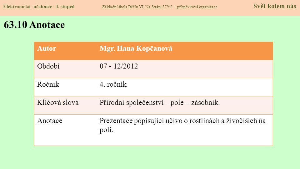63.10 Anotace Autor Mgr. Hana Kopčanová Období 07 - 12/2012 Ročník