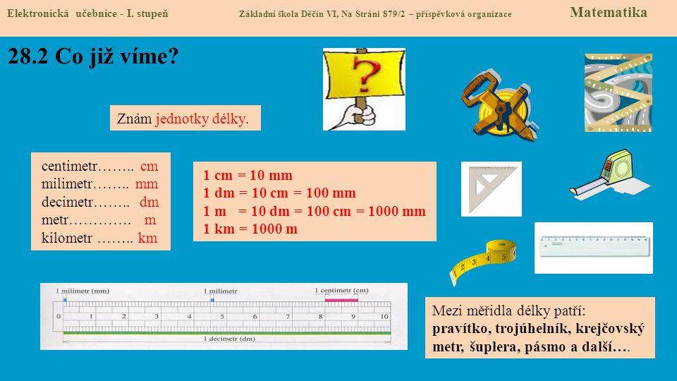28.2 Co již víme Znám jednotky délky. centimetr…….. cm