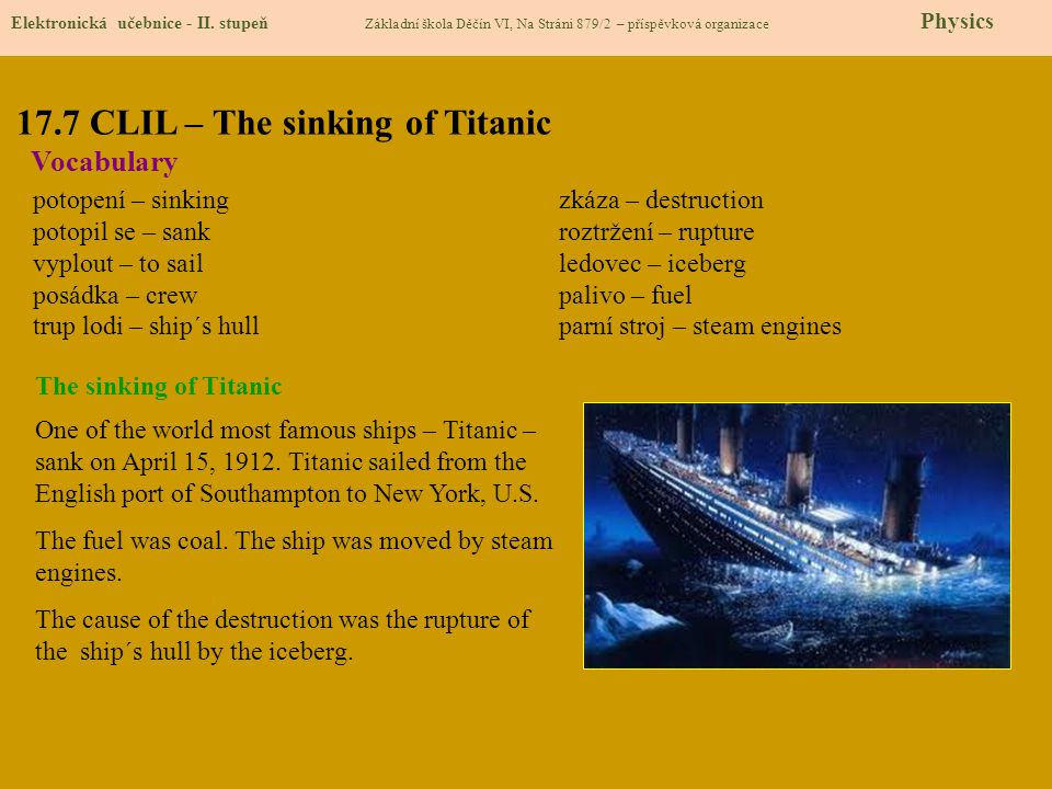 17.7 CLIL – The sinking of Titanic