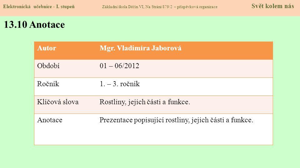 13.10 Anotace Autor Mgr. Vladimíra Jaborová Období 01 – 06/2012 Ročník