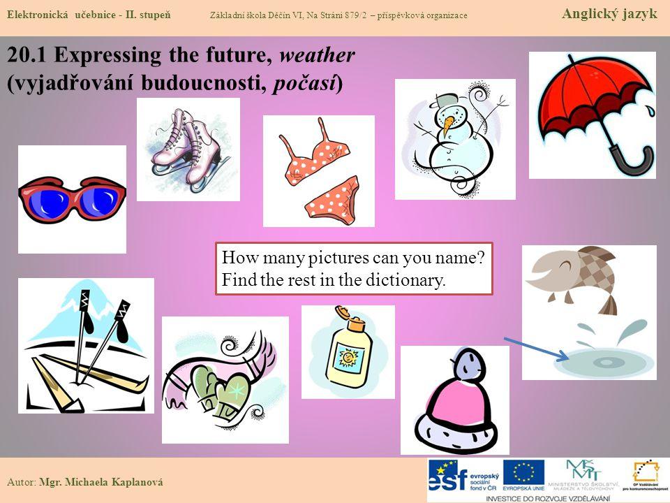 20.1 Expressing the future, weather (vyjadřování budoucnosti, počasí)