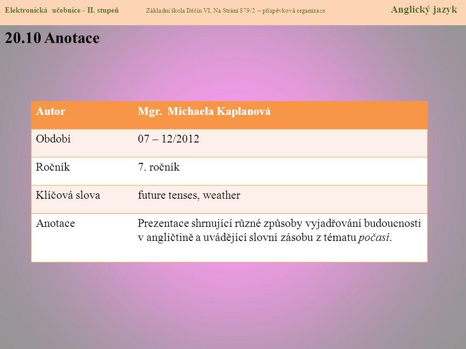 20.10 Anotace Autor Mgr. Michaela Kaplanová Období 07 – 12/2012 Ročník