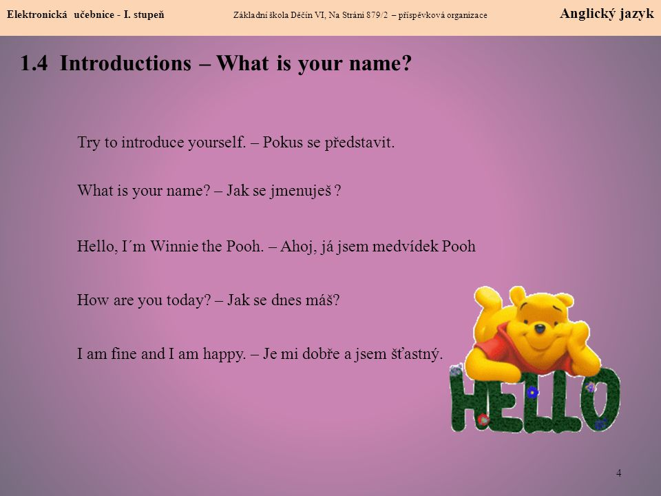 1.4 Introductions – What is your name