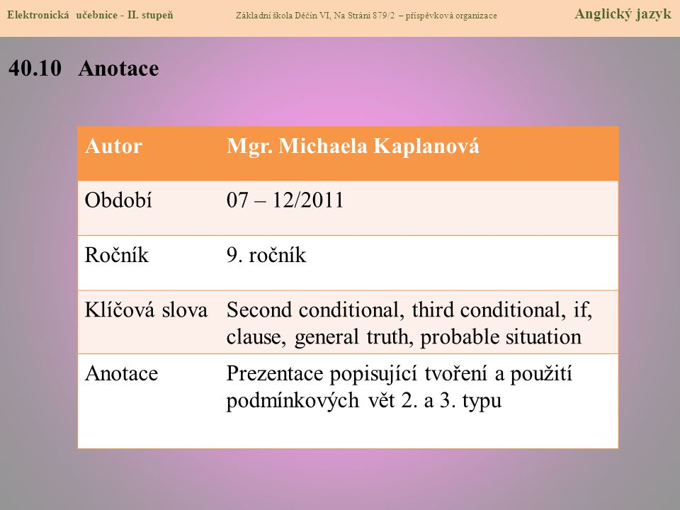 40.10 Anotace Autor Mgr. Michaela Kaplanová Období 07 – 12/2011 Ročník