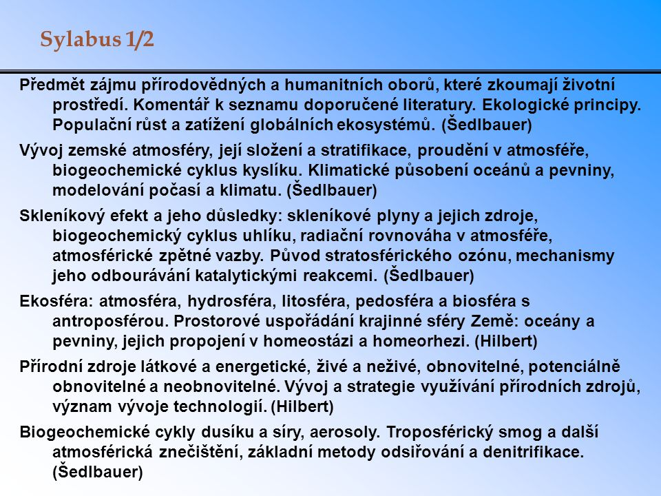 Sylabus 1/2