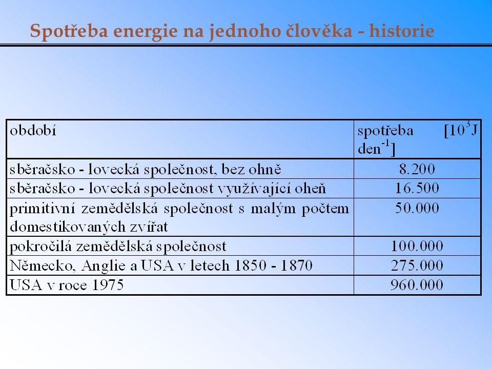 Spotřeba energie na jednoho člověka - historie
