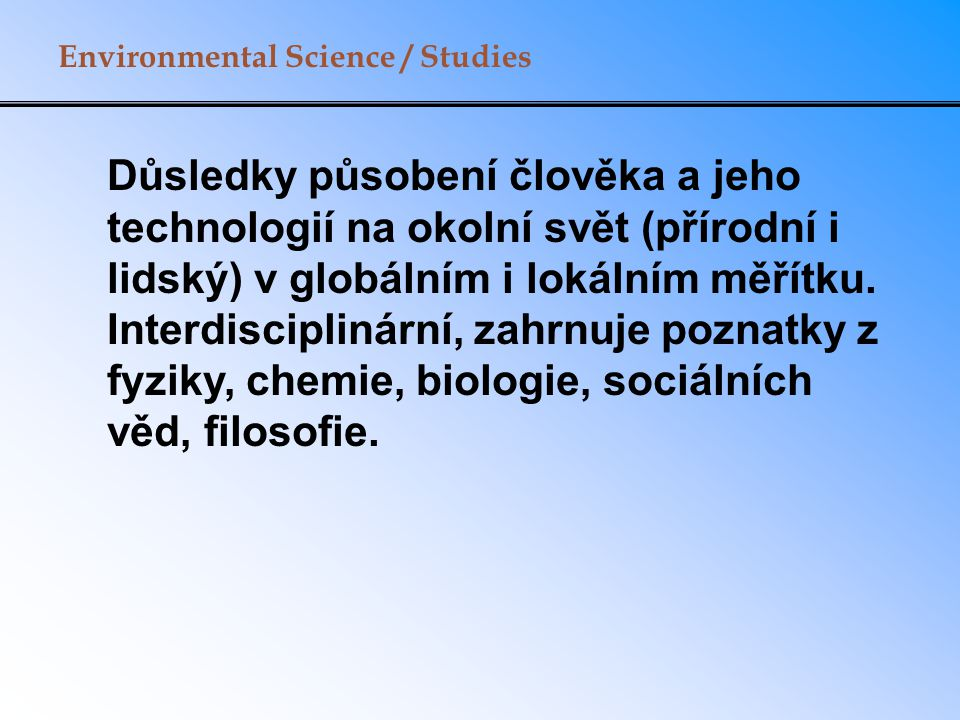 Environmental Science / Studies