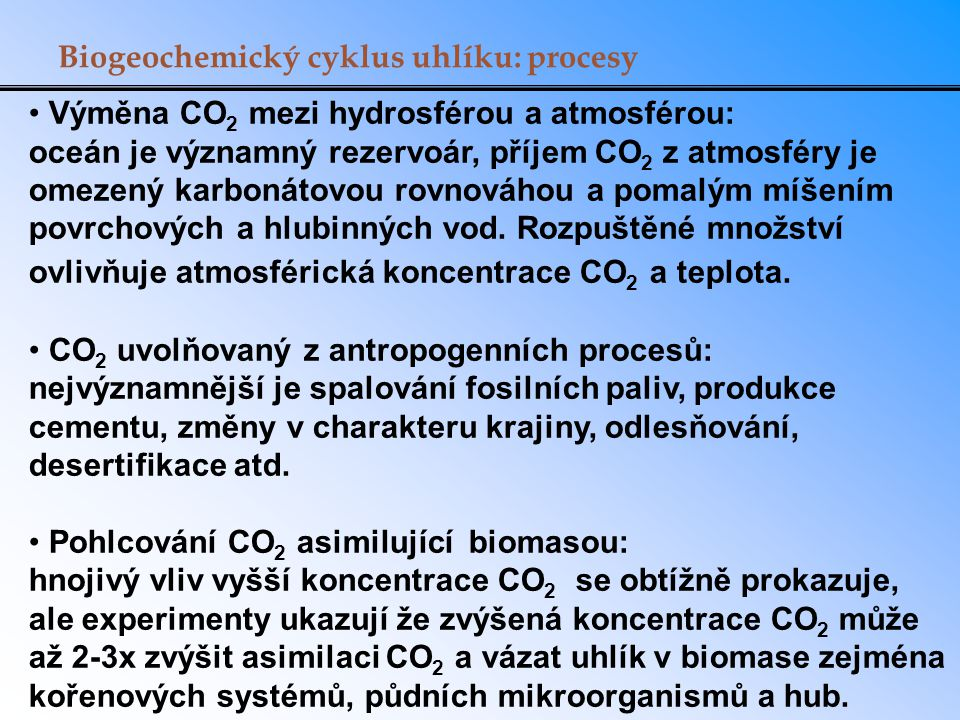 Biogeochemický cyklus uhlíku: procesy