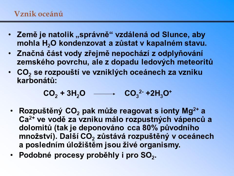 """Vznik oceánů Země je natolik """"správně vzdálená od Slunce, aby mohla H2O kondenzovat a zůstat v kapalném stavu."""