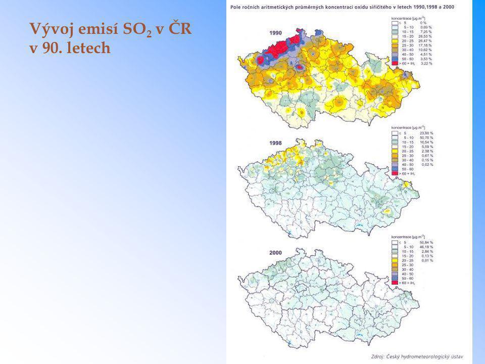 Vývoj emisí SO2 v ČR v 90. letech