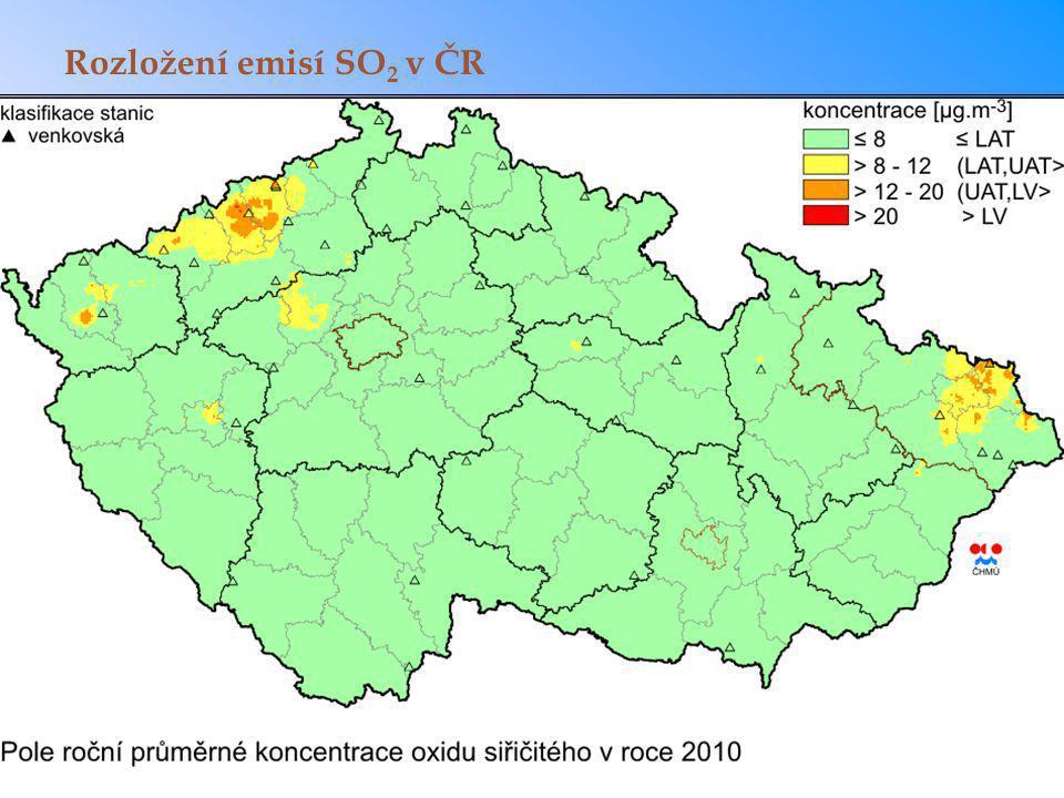 Rozložení emisí SO2 v ČR