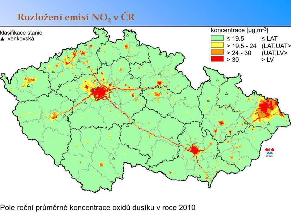 Rozložení emisí NO2 v ČR