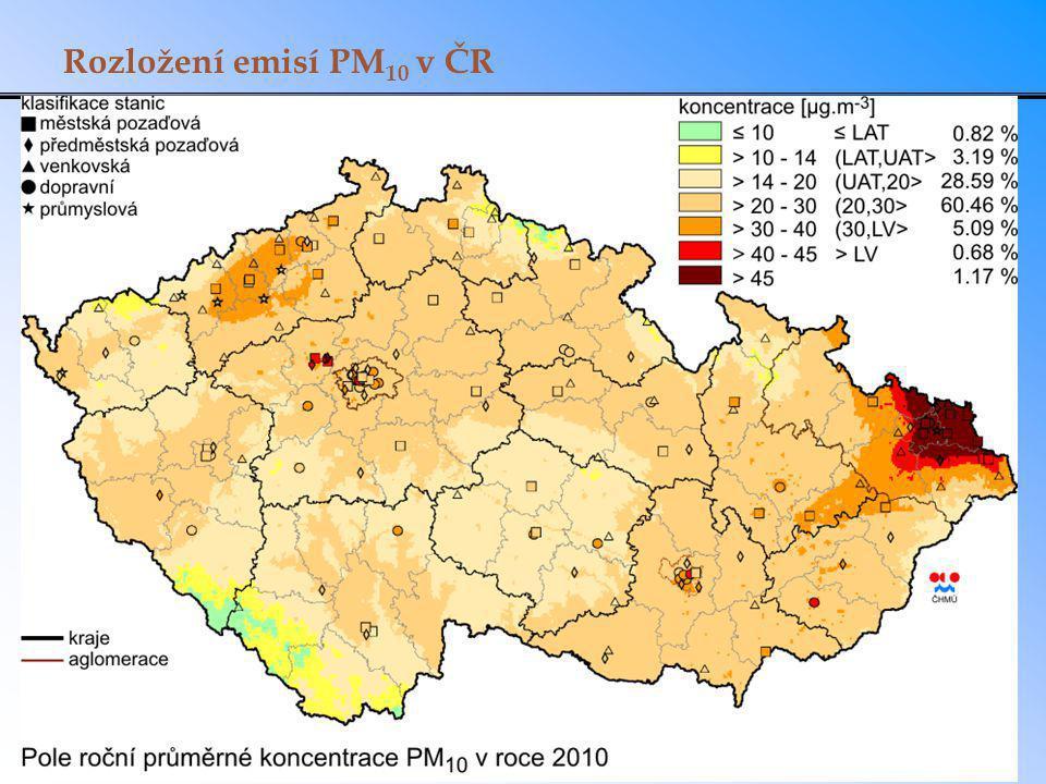 Rozložení emisí PM10 v ČR