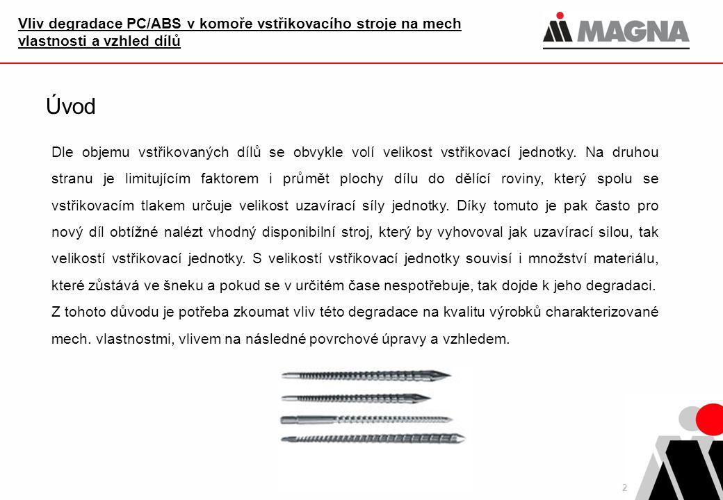 Vliv degradace PC/ABS v komoře vstřikovacího stroje na mech vlastnosti a vzhled dílů