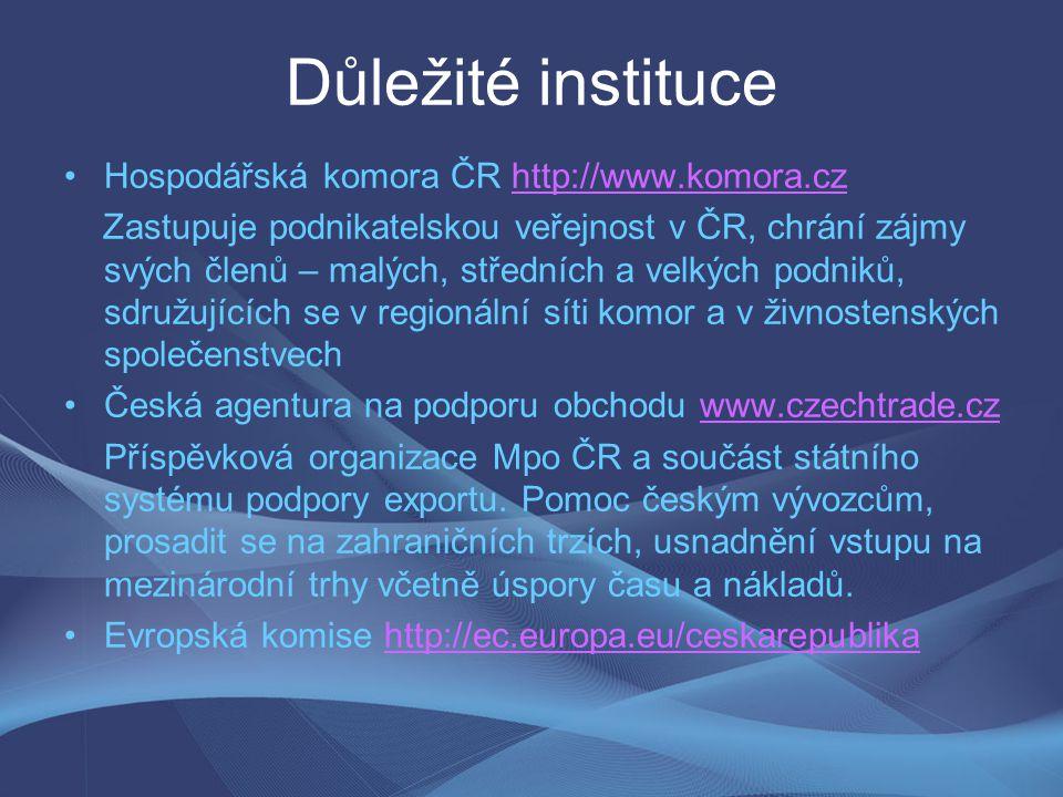Důležité instituce Hospodářská komora ČR http://www.komora.cz