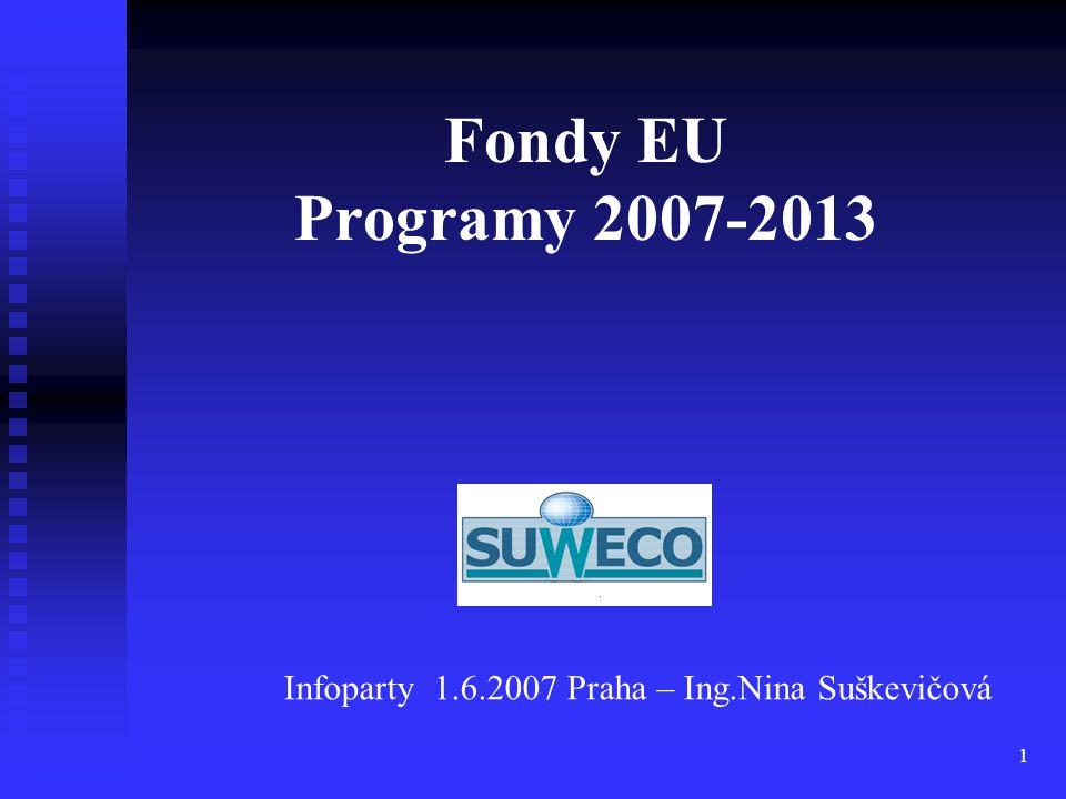 Fondy EU Programy 2007-2013 Infoparty 1.6.2007 Praha – Ing.Nina Suškevičová