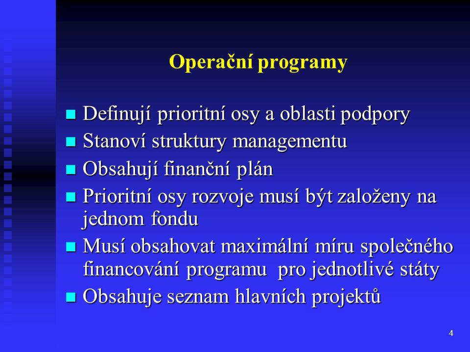 Operační programy Definují prioritní osy a oblasti podpory. Stanoví struktury managementu. Obsahují finanční plán.