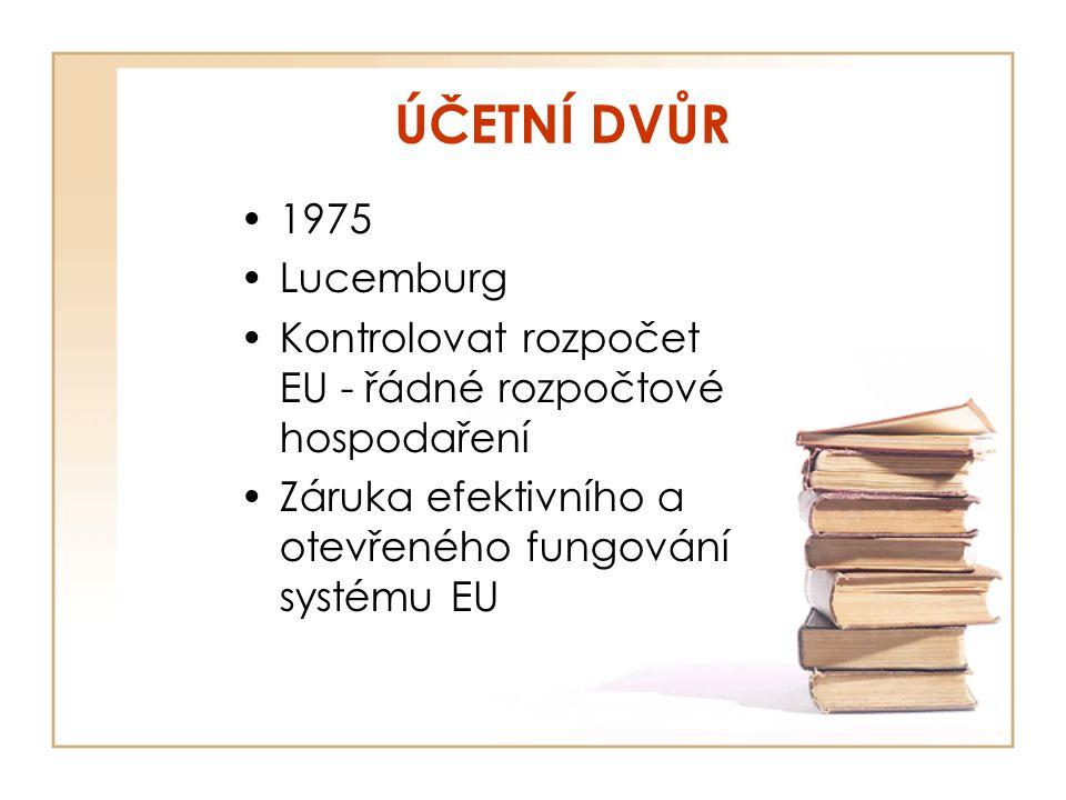 ÚČETNÍ DVŮR 1975. Lucemburg. Kontrolovat rozpočet EU - řádné rozpočtové hospodaření.