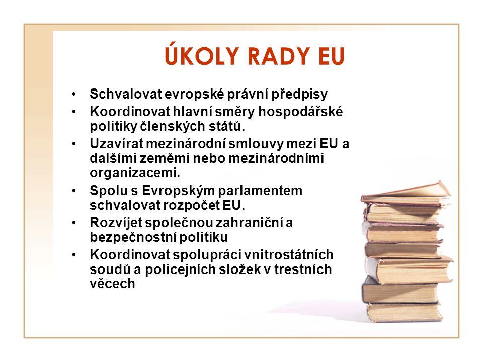 ÚKOLY RADY EU Schvalovat evropské právní předpisy