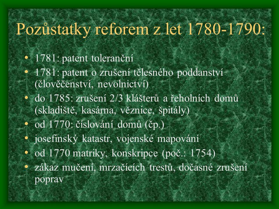Pozůstatky reforem z let 1780-1790: