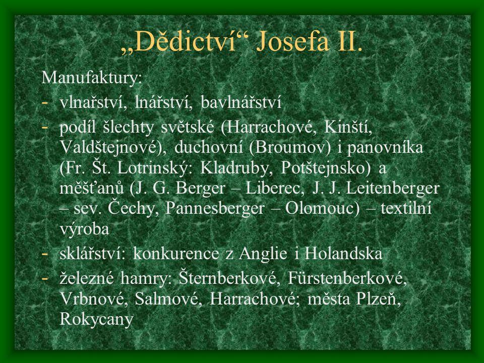 """""""Dědictví Josefa II. Manufaktury: vlnařství, lnářství, bavlnářství"""