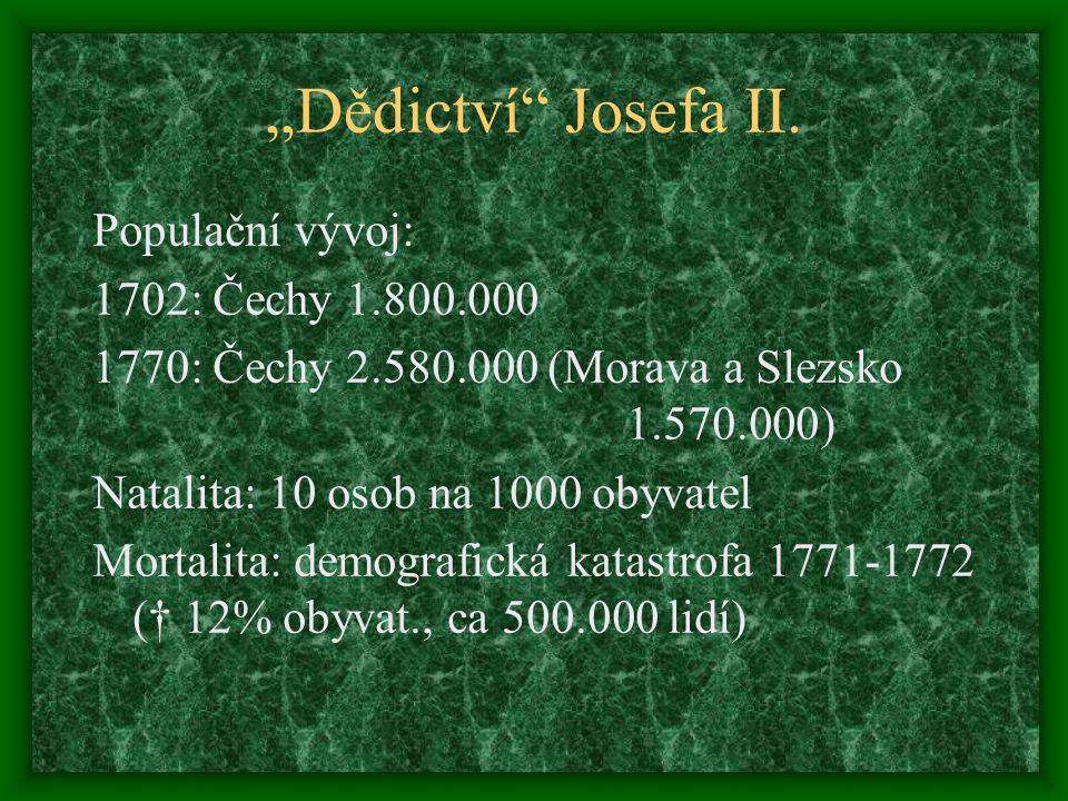 """""""Dědictví Josefa II. Populační vývoj: 1702: Čechy 1.800.000"""