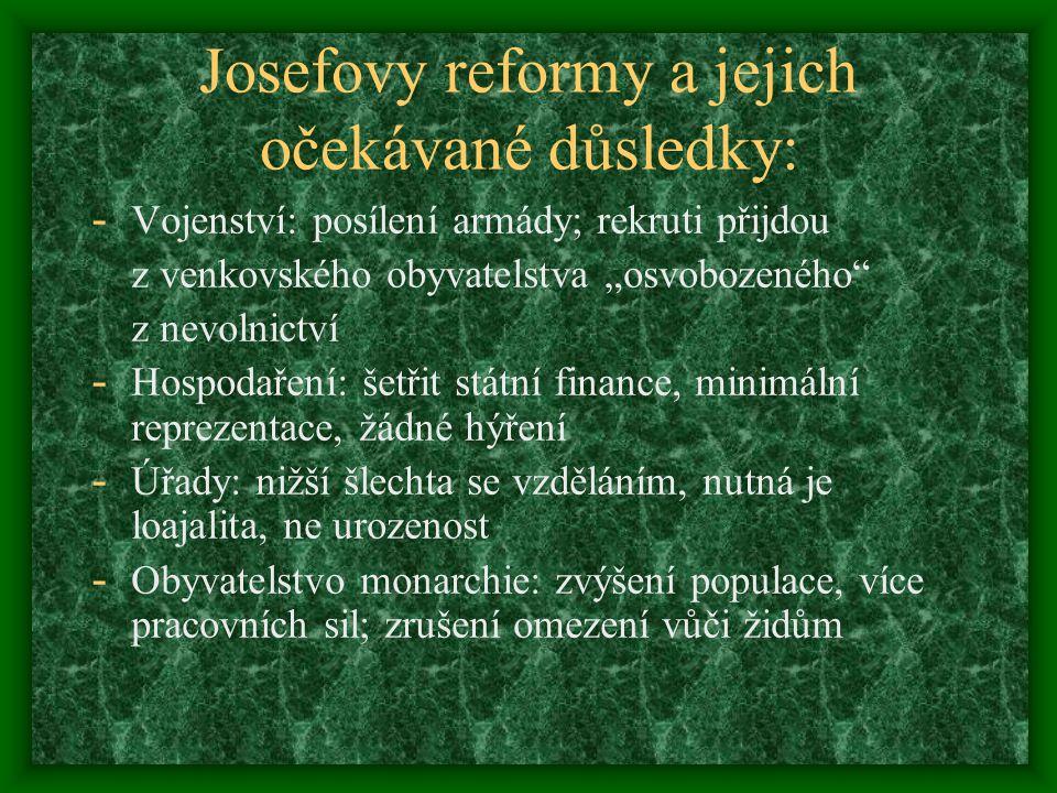 Josefovy reformy a jejich očekávané důsledky: