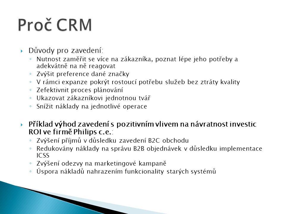 Proč CRM Důvody pro zavedení: