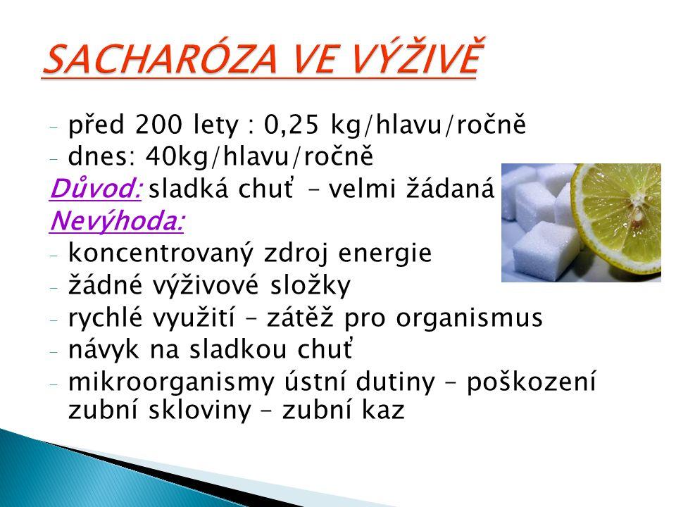 SACHARÓZA VE VÝŽIVĚ před 200 lety : 0,25 kg/hlavu/ročně