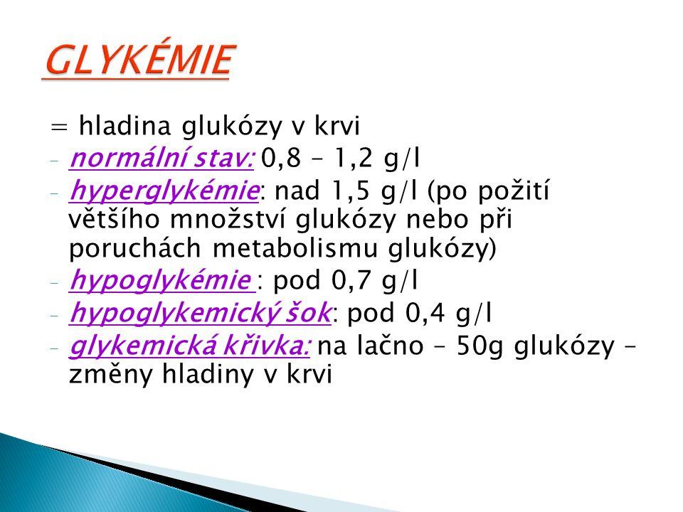 GLYKÉMIE = hladina glukózy v krvi normální stav: 0,8 – 1,2 g/l