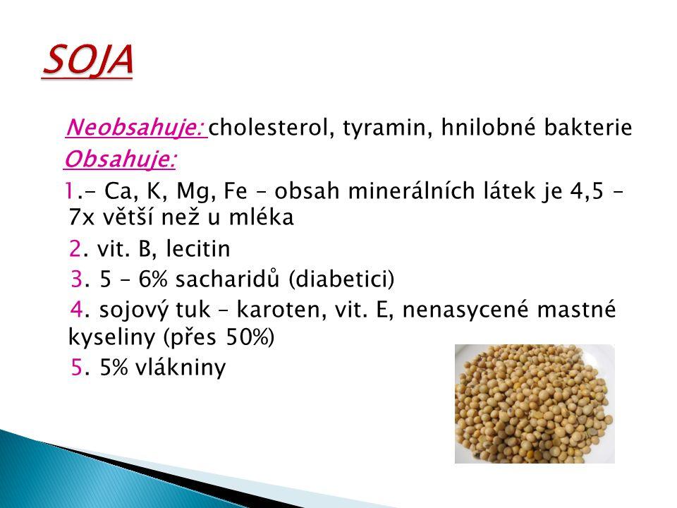 SOJA Neobsahuje: cholesterol, tyramin, hnilobné bakterie Obsahuje: