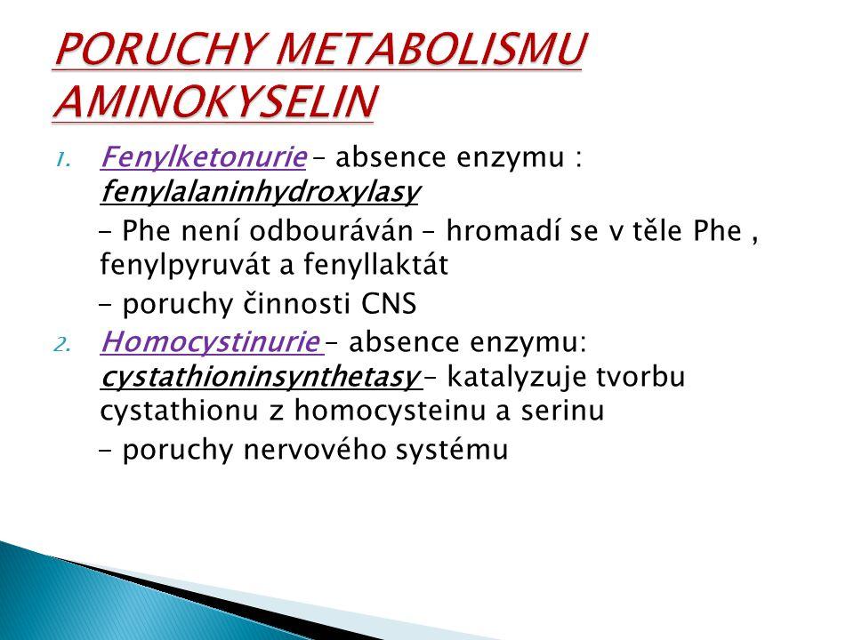 PORUCHY METABOLISMU AMINOKYSELIN