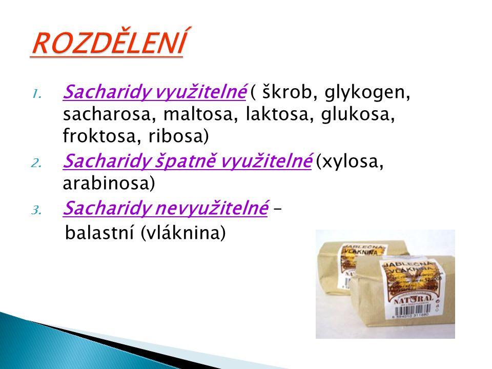 ROZDĚLENÍ Sacharidy využitelné ( škrob, glykogen, sacharosa, maltosa, laktosa, glukosa, froktosa, ribosa)