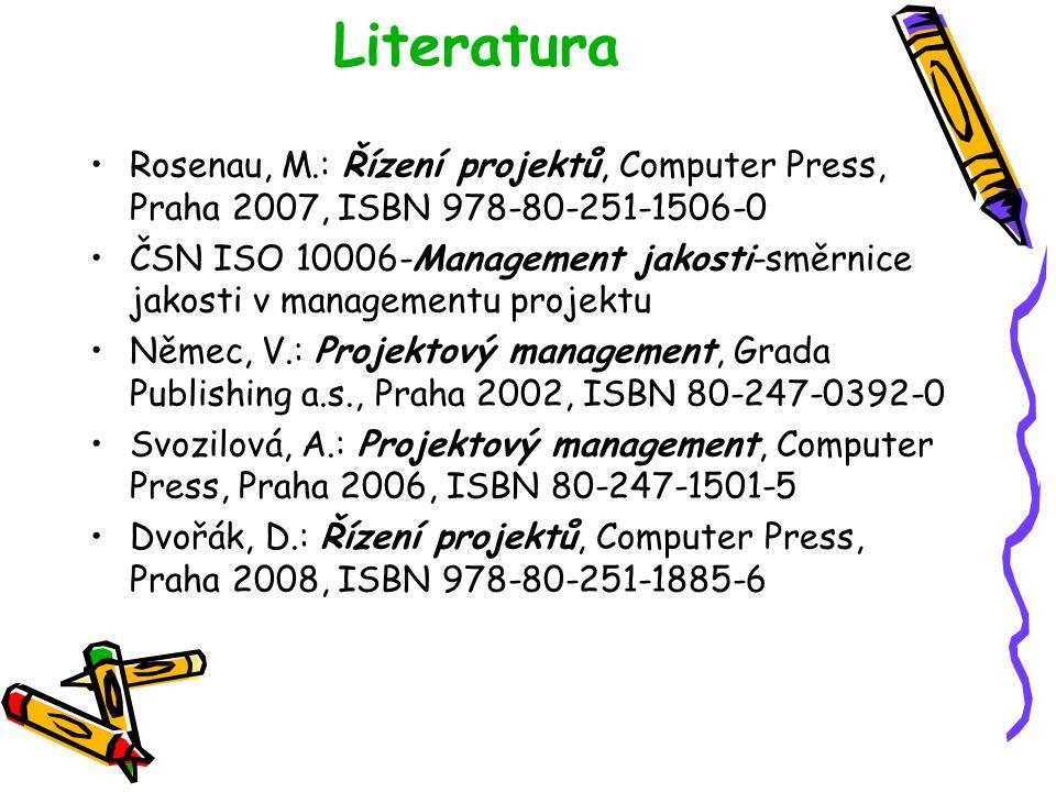Literatura Rosenau, M.: Řízení projektů, Computer Press, Praha 2007, ISBN 978-80-251-1506-0.