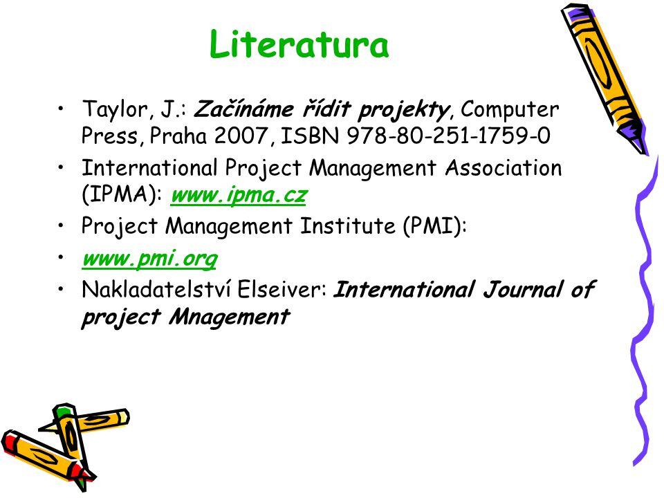 Literatura Taylor, J.: Začínáme řídit projekty, Computer Press, Praha 2007, ISBN 978-80-251-1759-0.