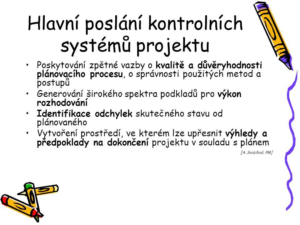 Hlavní poslání kontrolních systémů projektu