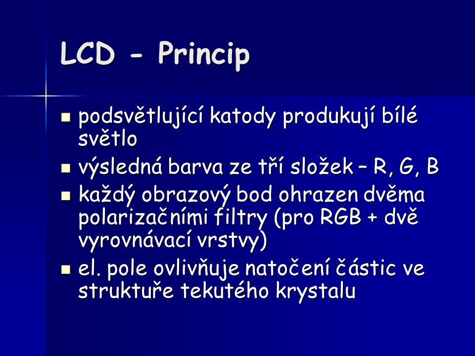 LCD - Princip podsvětlující katody produkují bílé světlo