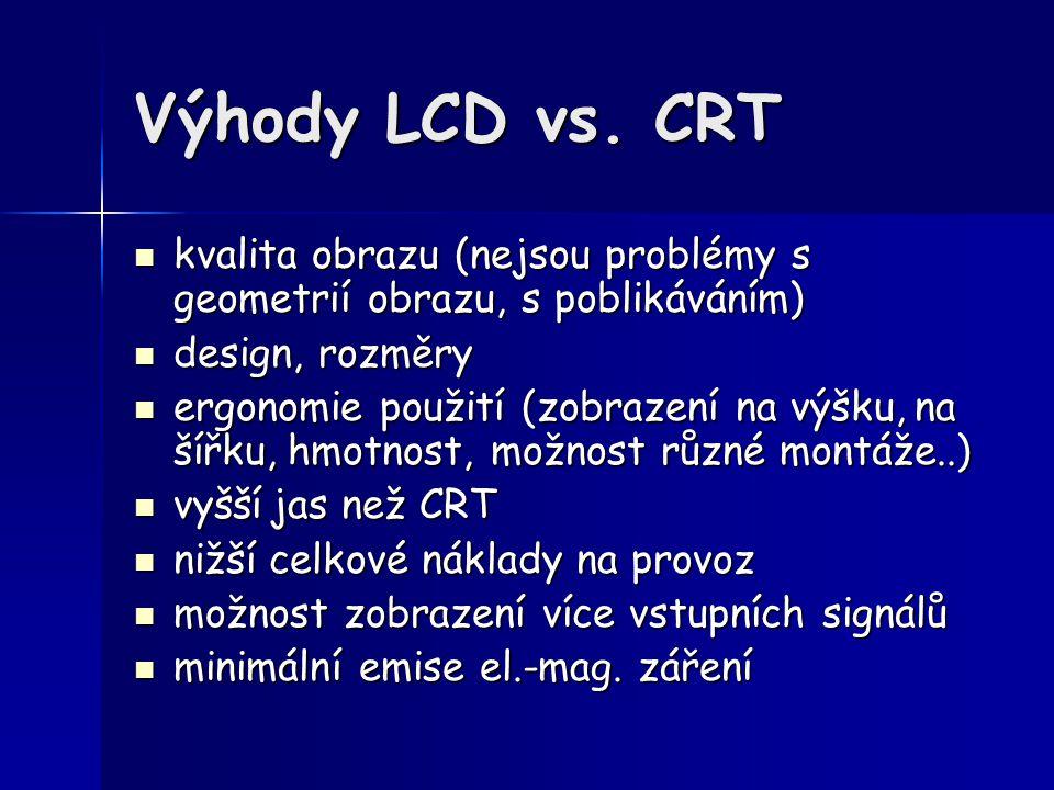 Výhody LCD vs. CRT kvalita obrazu (nejsou problémy s geometrií obrazu, s poblikáváním) design, rozměry.